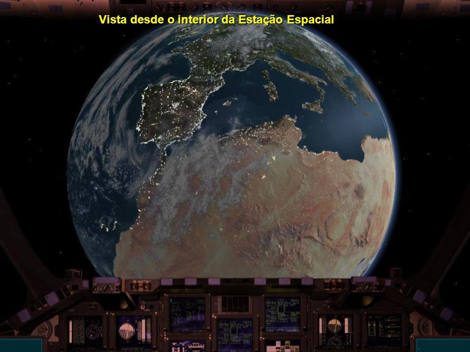 Vista desde o interior da Estação Espacial