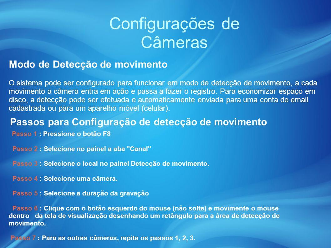 Configurações de Câmeras Modo de Detecção de movimento