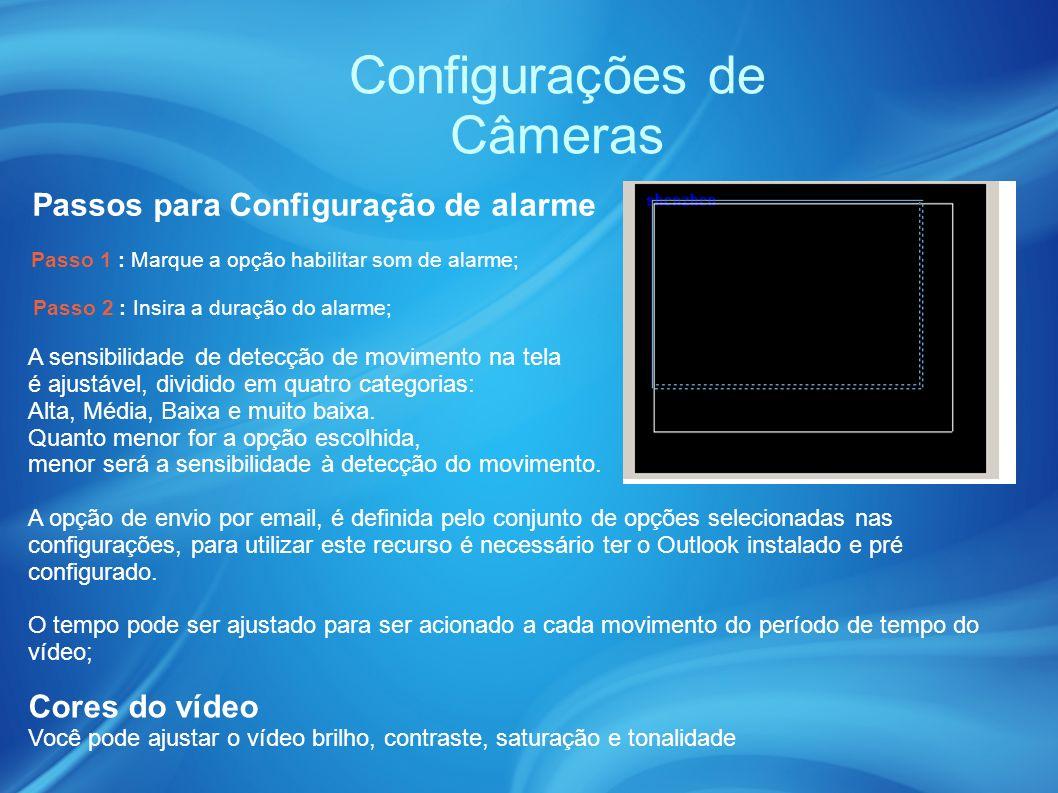 Configurações de Câmeras Passos para Configuração de alarme