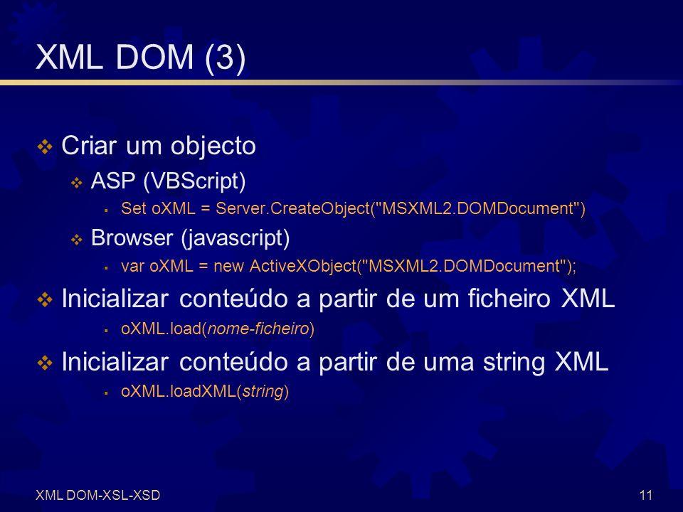 XML DOM (4) Obter código de erro Conteúdo como string XML (MSXML)