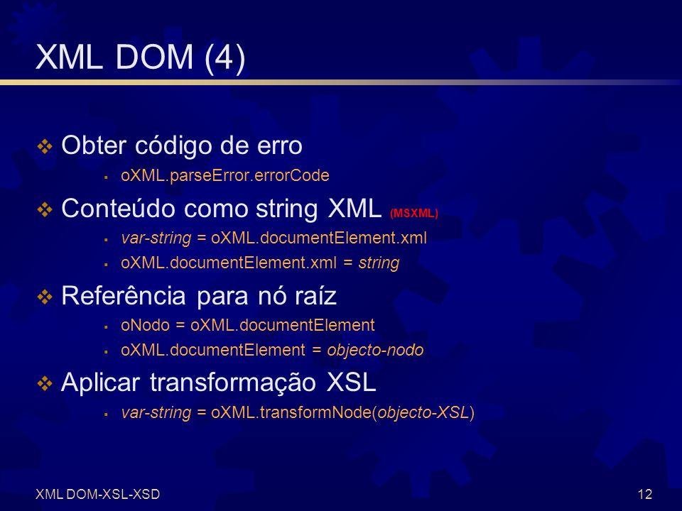 XML DOM (5) Criar um novo nó Conteúdo de um nó