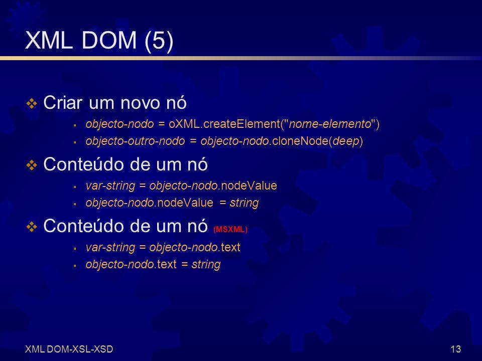 XML DOM (6) Adicionar um nó como filho de outro nó