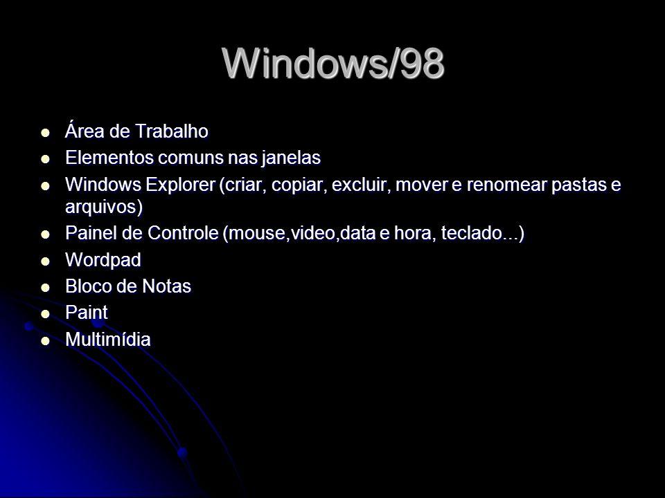 Windows/98 Área de Trabalho Elementos comuns nas janelas