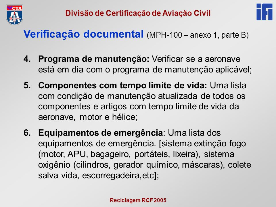 Verificação documental (MPH-100 – anexo 1, parte B)