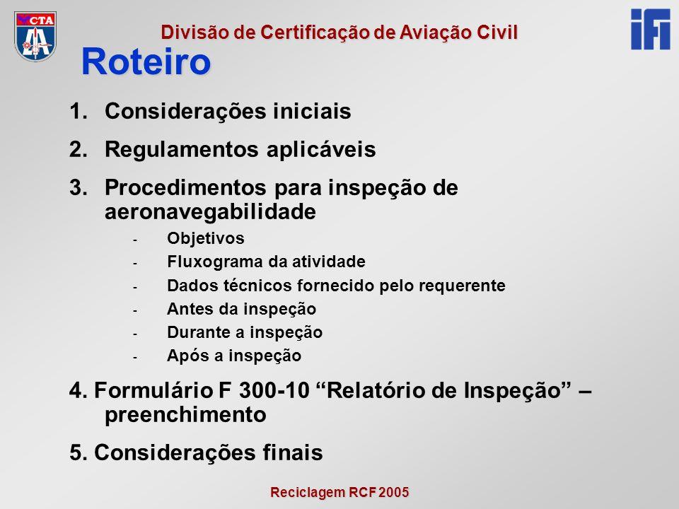 Roteiro Considerações iniciais Regulamentos aplicáveis