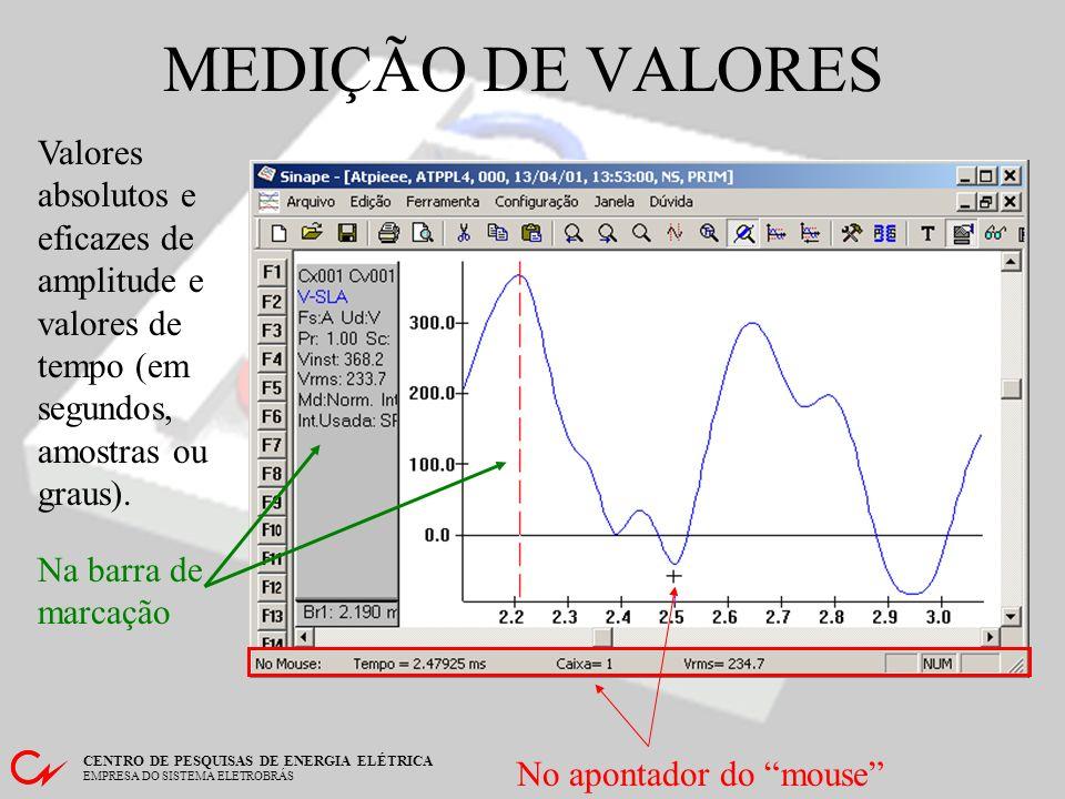MEDIÇÃO DE VALORES Valores absolutos e eficazes de amplitude e valores de tempo (em segundos, amostras ou graus).