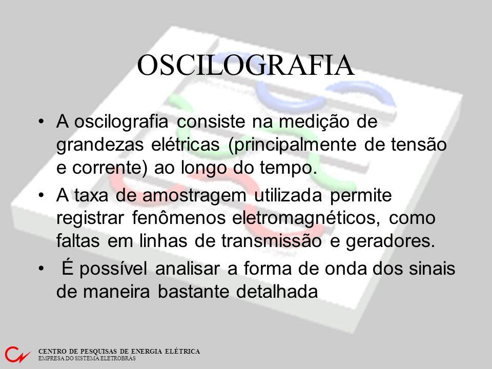OSCILOGRAFIA A oscilografia consiste na medição de grandezas elétricas (principalmente de tensão e corrente) ao longo do tempo.