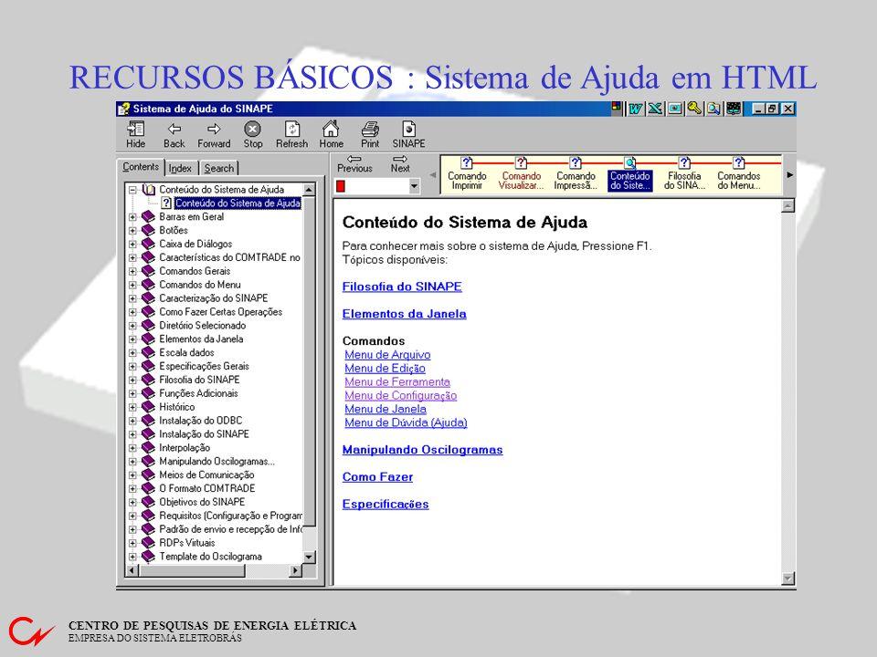 RECURSOS BÁSICOS : Sistema de Ajuda em HTML