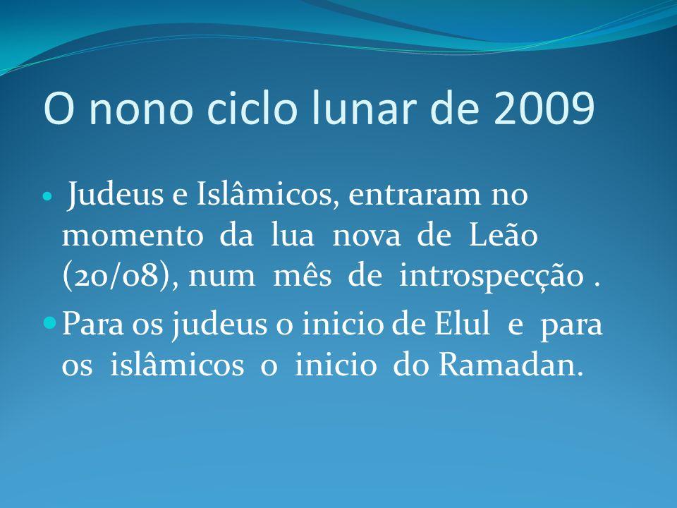O nono ciclo lunar de 2009 Judeus e Islâmicos, entraram no momento da lua nova de Leão (20/08), num mês de introspecção .
