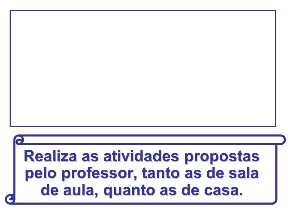 Realiza as atividades propostas pelo professor, tanto as de sala de aula, quanto as de casa.
