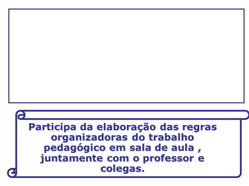 Participa da elaboração das regras organizadoras do trabalho pedagógico em sala de aula , juntamente com o professor e colegas.
