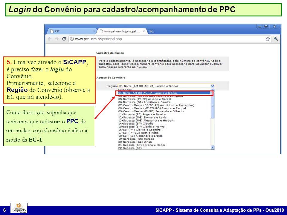 Login do Convênio para cadastro/acompanhamento de PPC