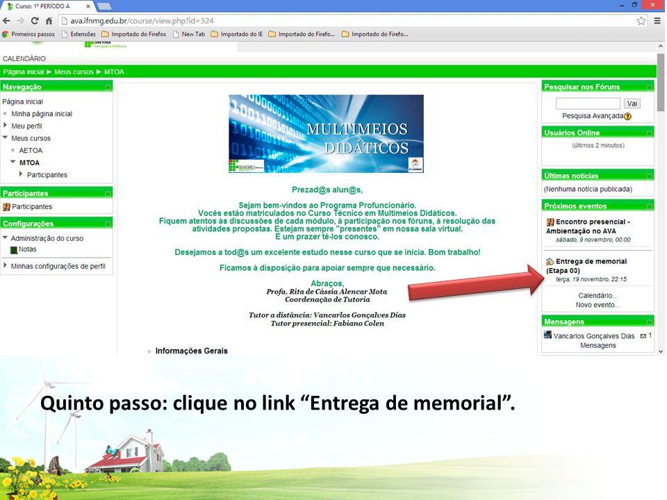 Quinto passo: clique no link Entrega de memorial .