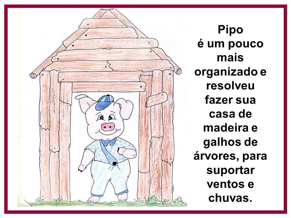 Pipo é um pouco mais organizado e resolveu fazer sua casa de madeira e galhos de árvores, para suportar ventos e chuvas.