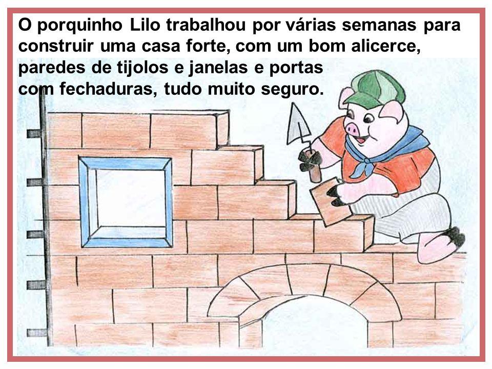 O porquinho Lilo trabalhou por várias semanas para construir uma casa forte, com um bom alicerce, paredes de tijolos e janelas e portas