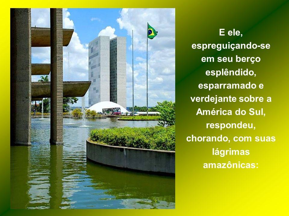 E ele, espreguiçando-se em seu berço esplêndido, esparramado e verdejante sobre a América do Sul, respondeu, chorando, com suas lágrimas amazônicas: