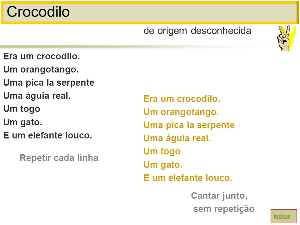 Crocodilo de origem desconhecida Era um crocodilo. Um orangotango.