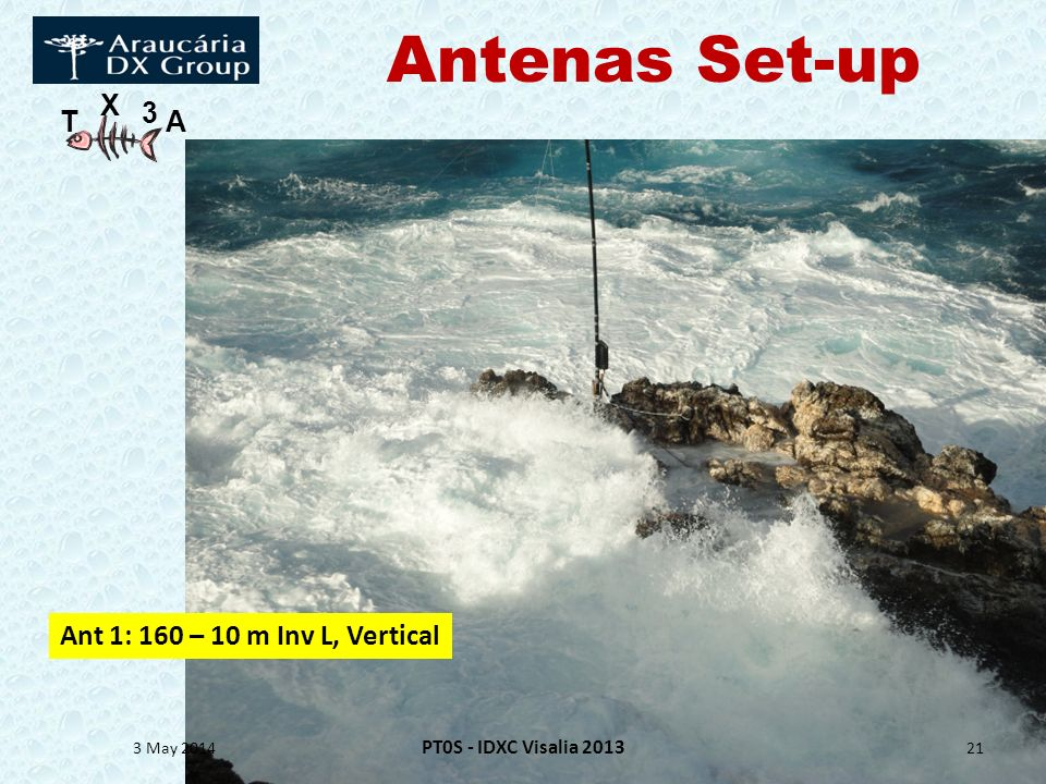 Antenas Set-up Ant 1: 160 – 10 m Inv L, Vertical