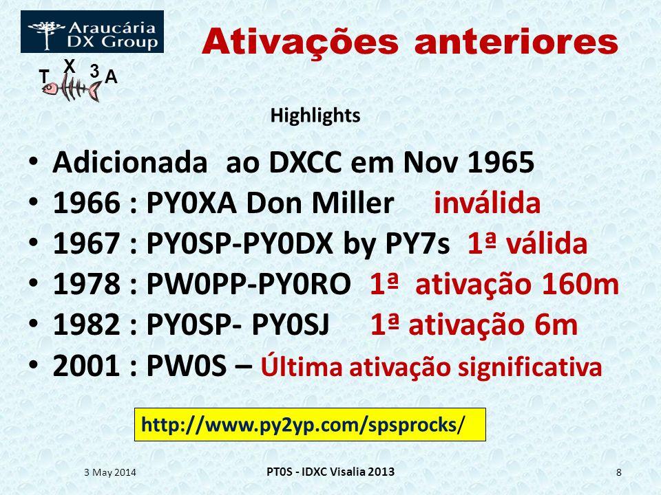 Ativações anteriores Adicionada ao DXCC em Nov 1965