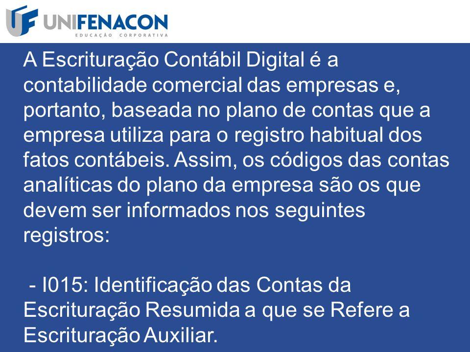 A Escrituração Contábil Digital é a contabilidade comercial das empresas e, portanto, baseada no plano de contas que a empresa utiliza para o registro habitual dos fatos contábeis.
