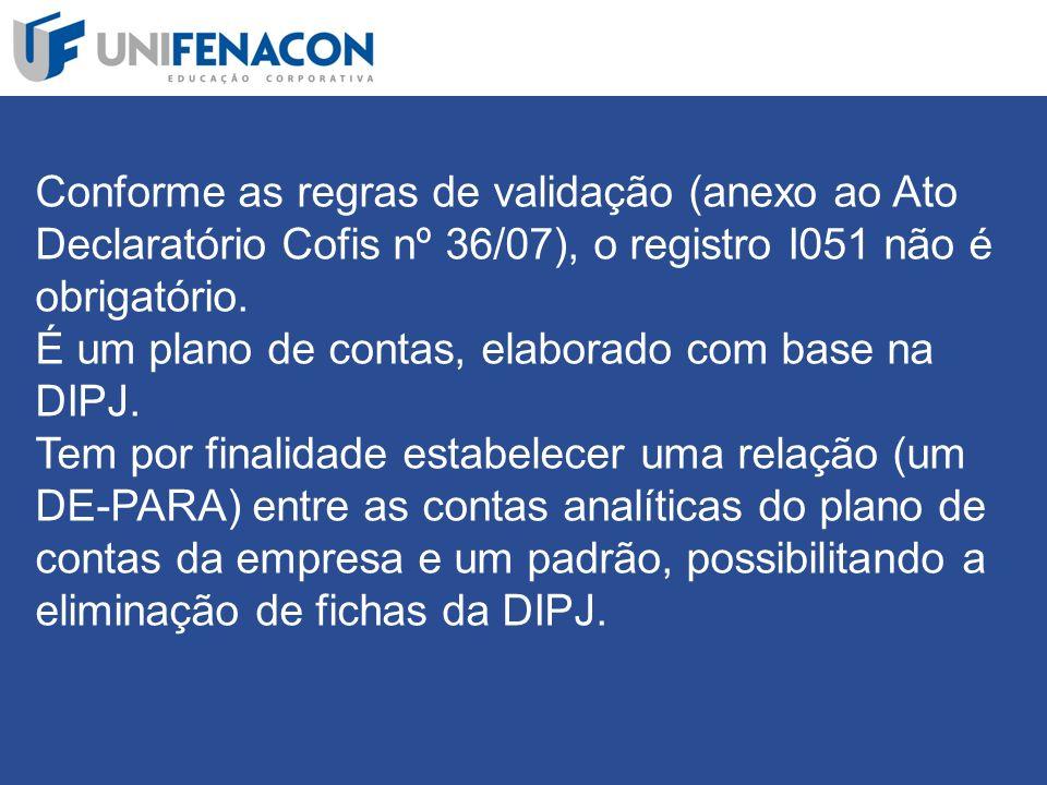 Conforme as regras de validação (anexo ao Ato Declaratório Cofis nº 36/07), o registro I051 não é obrigatório.