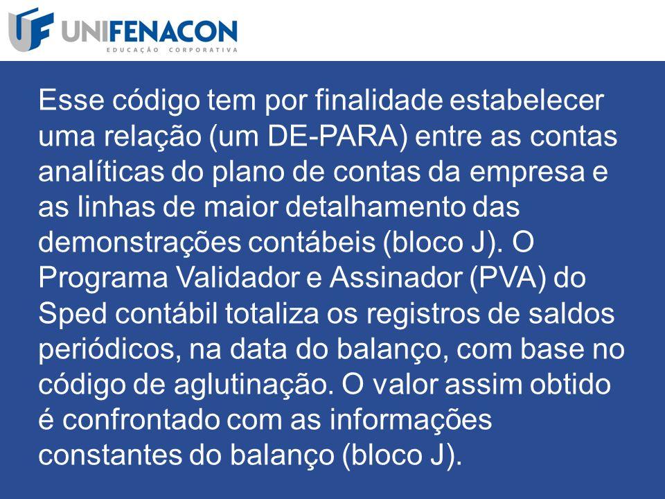 Esse código tem por finalidade estabelecer uma relação (um DE-PARA) entre as contas analíticas do plano de contas da empresa e as linhas de maior detalhamento das demonstrações contábeis (bloco J).