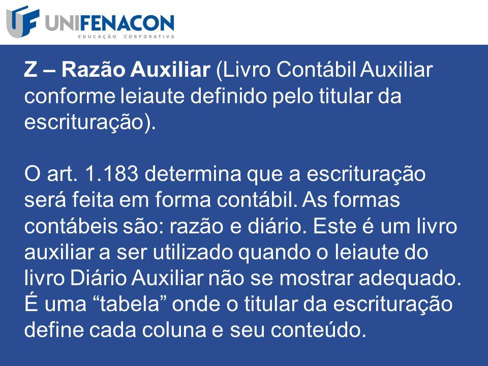 Z – Razão Auxiliar (Livro Contábil Auxiliar conforme leiaute definido pelo titular da escrituração).