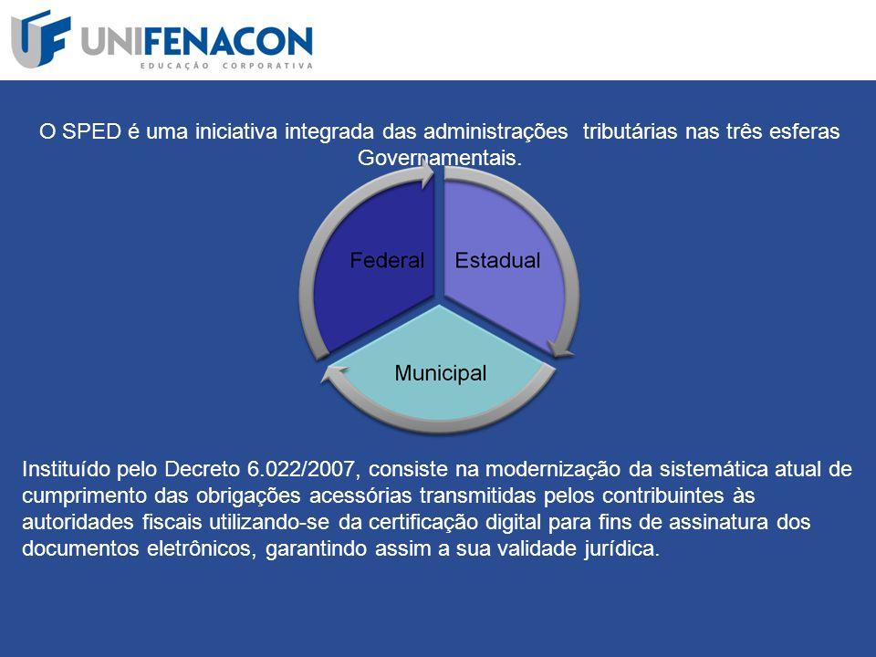 O SPED é uma iniciativa integrada das administrações tributárias nas três esferas Governamentais.