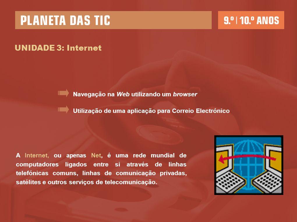 UNIDADE 3: Internet Navegação na Web utilizando um browser