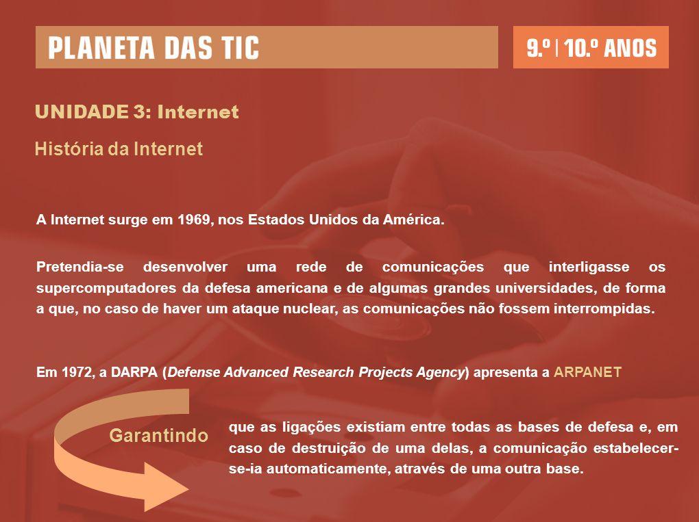 UNIDADE 3: Internet História da Internet Garantindo
