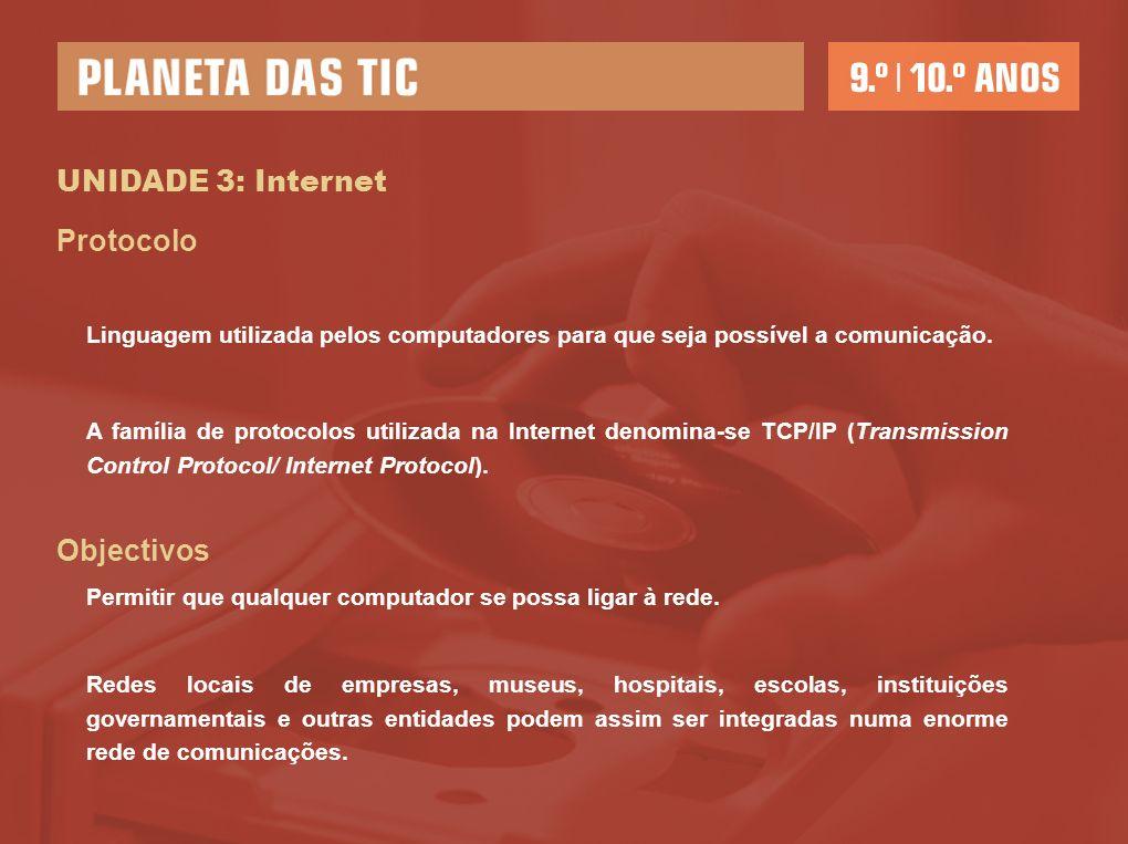 UNIDADE 3: Internet Protocolo Objectivos