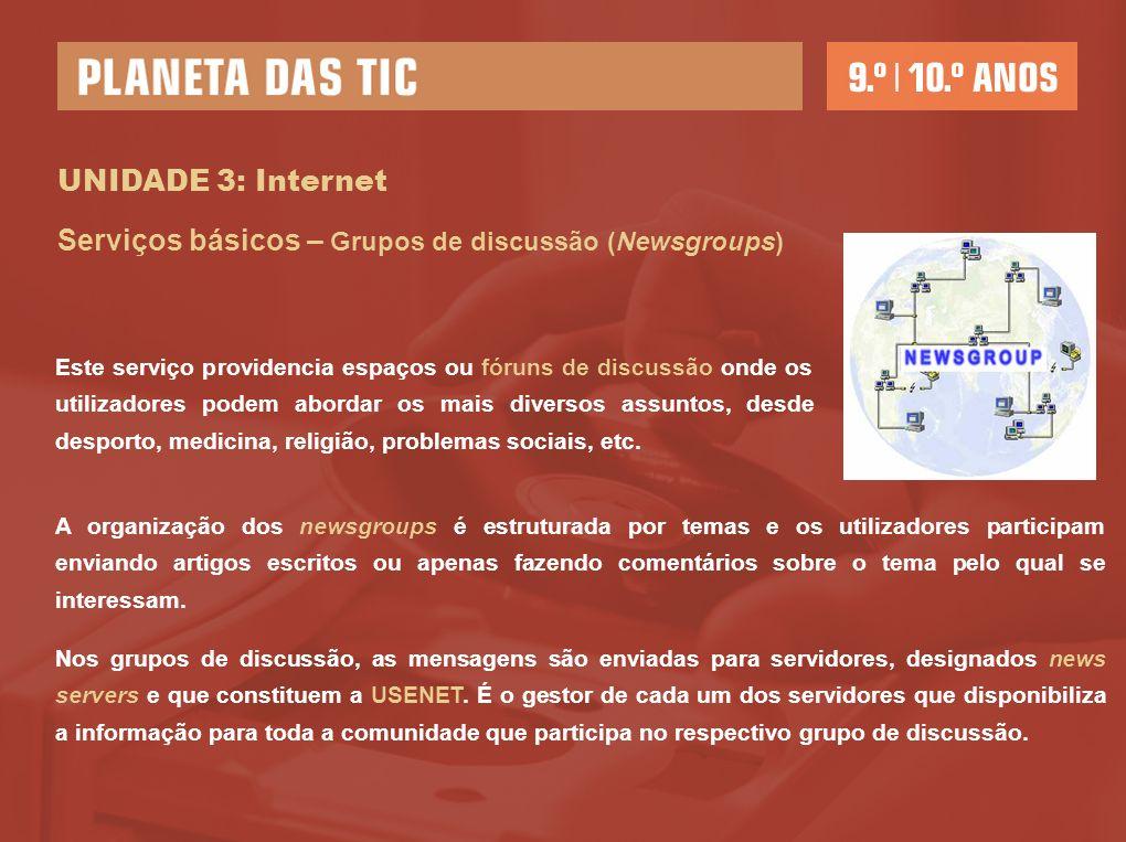 Serviços básicos – Grupos de discussão (Newsgroups)