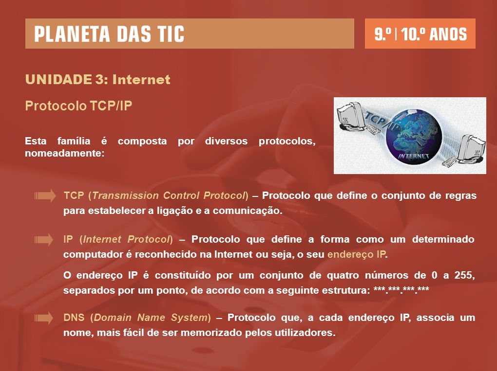 UNIDADE 3: Internet Protocolo TCP/IP