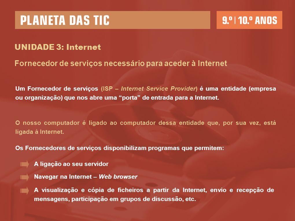 Fornecedor de serviços necessário para aceder à Internet