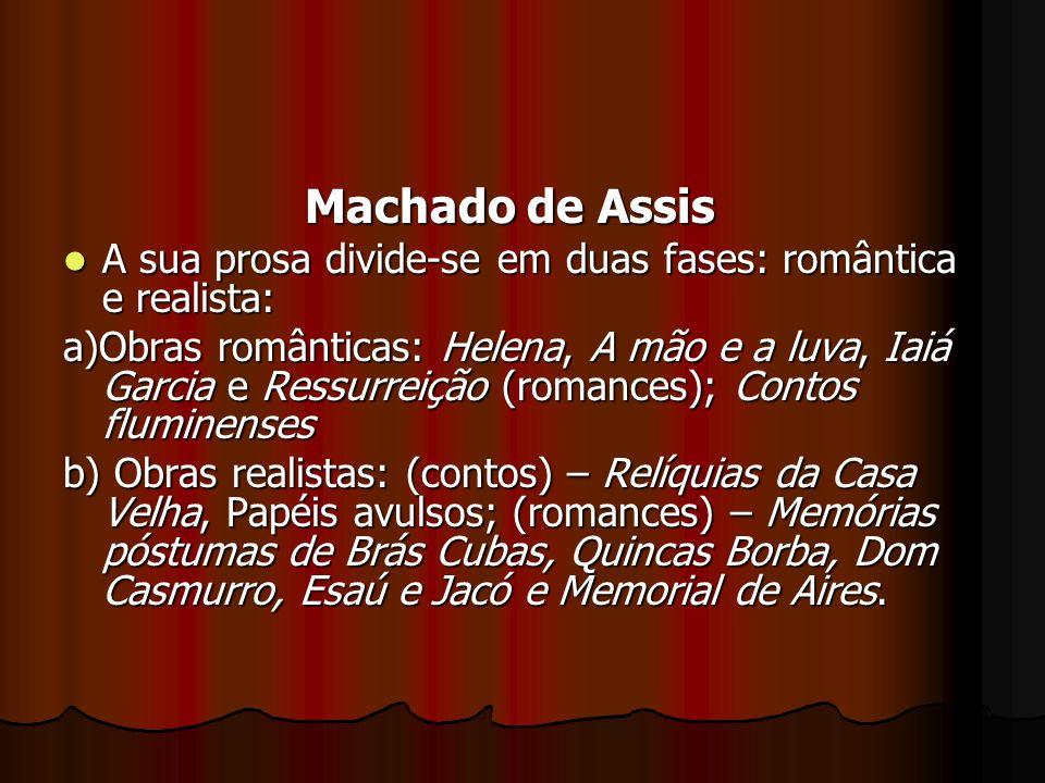 Machado de Assis A sua prosa divide-se em duas fases: romântica e realista: