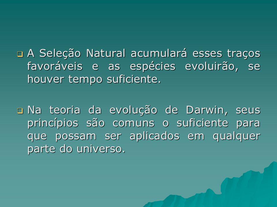 A Seleção Natural acumulará esses traços favoráveis e as espécies evoluirão, se houver tempo suficiente.