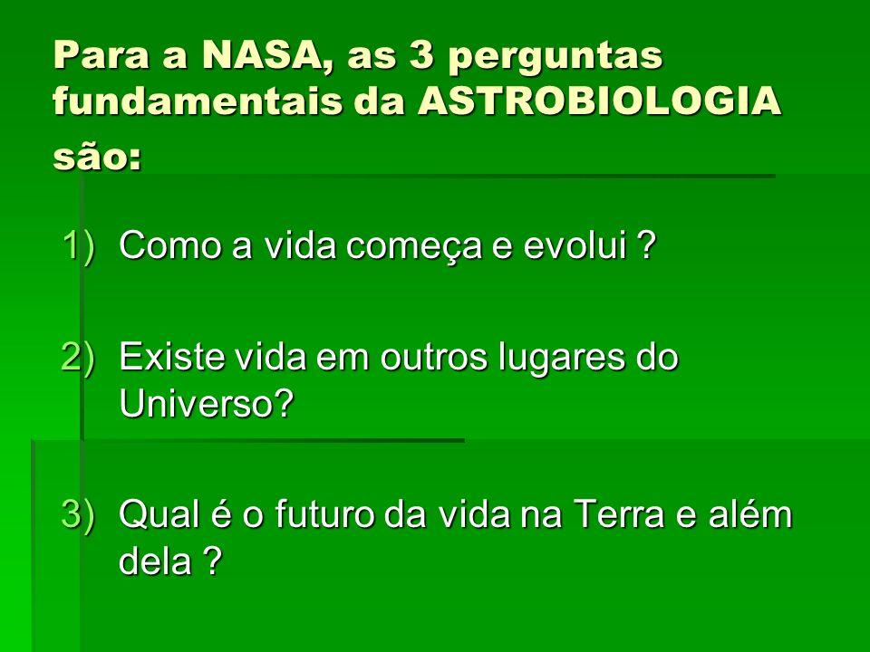 Para a NASA, as 3 perguntas fundamentais da ASTROBIOLOGIA são: