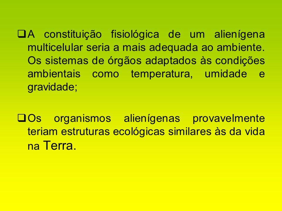 A constituição fisiológica de um alienígena multicelular seria a mais adequada ao ambiente. Os sistemas de órgãos adaptados às condições ambientais como temperatura, umidade e gravidade;