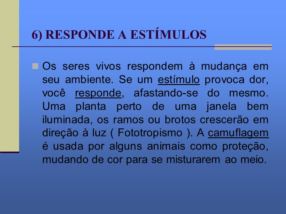 6) RESPONDE A ESTÍMULOS