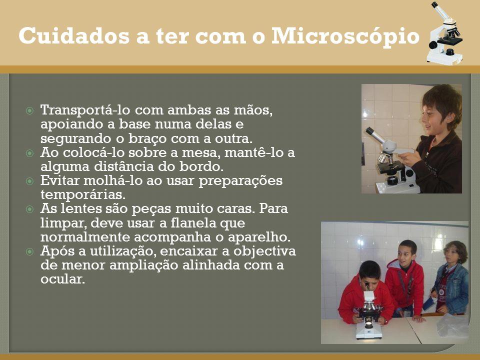 Cuidados a ter com o Microscópio
