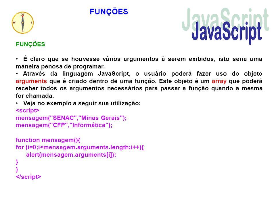 JavaScript FUNÇÕES FUNÇÕES