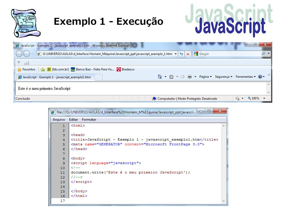 Exemplo 1 - Execução JavaScript