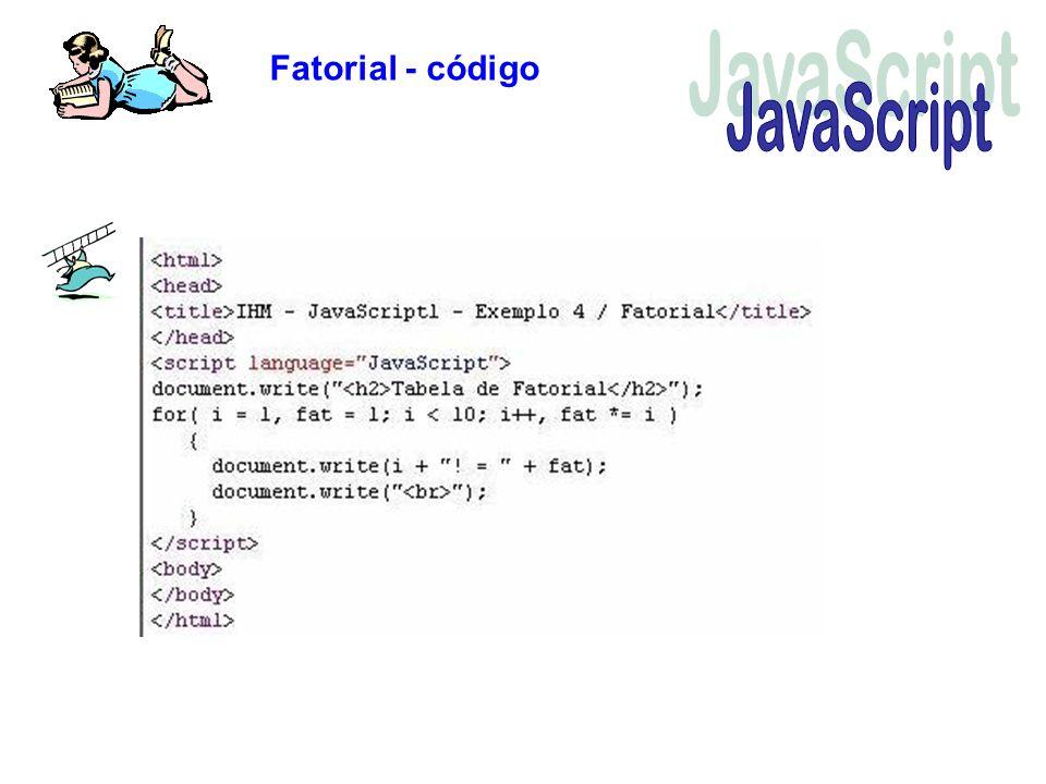 Fatorial - código JavaScript