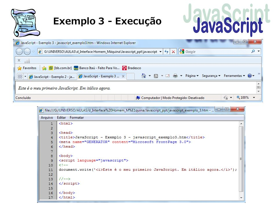 Exemplo 3 - Execução JavaScript