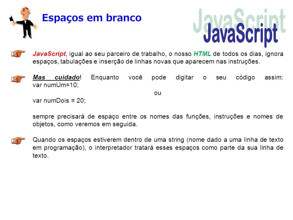 JavaScript Espaços em branco