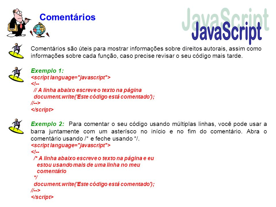 JavaScript Comentários