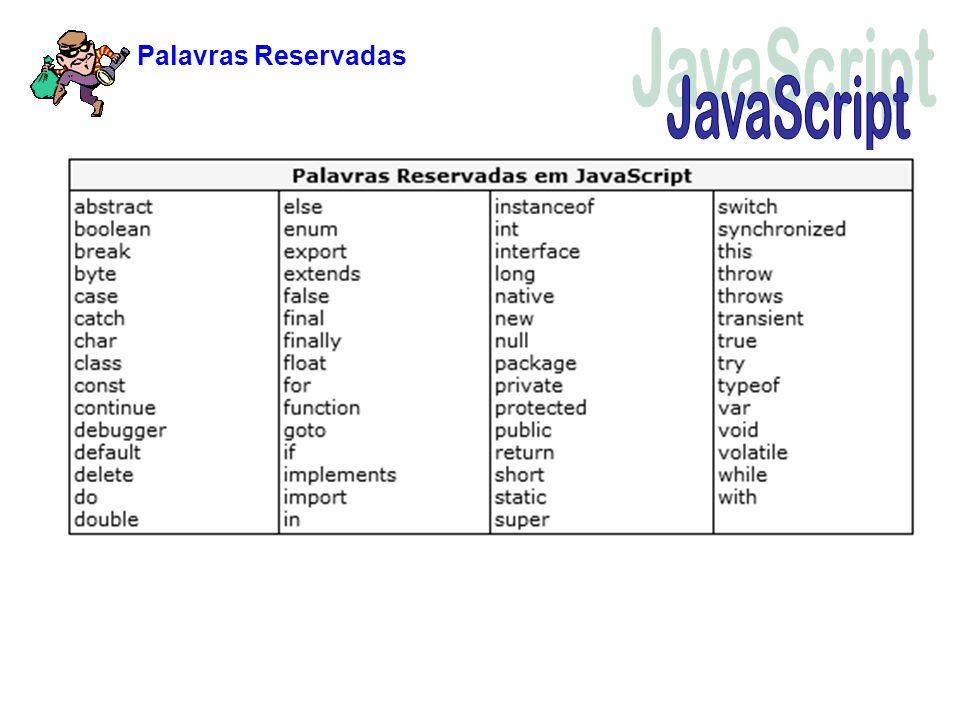Palavras Reservadas JavaScript