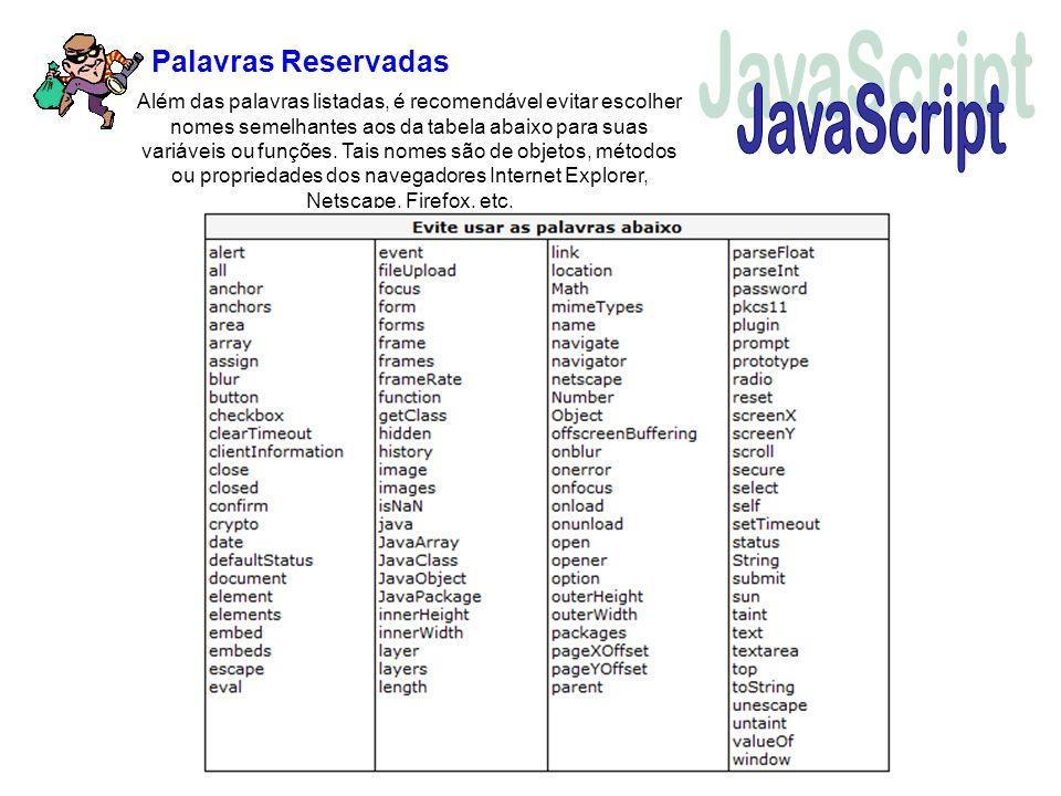 JavaScript Palavras Reservadas