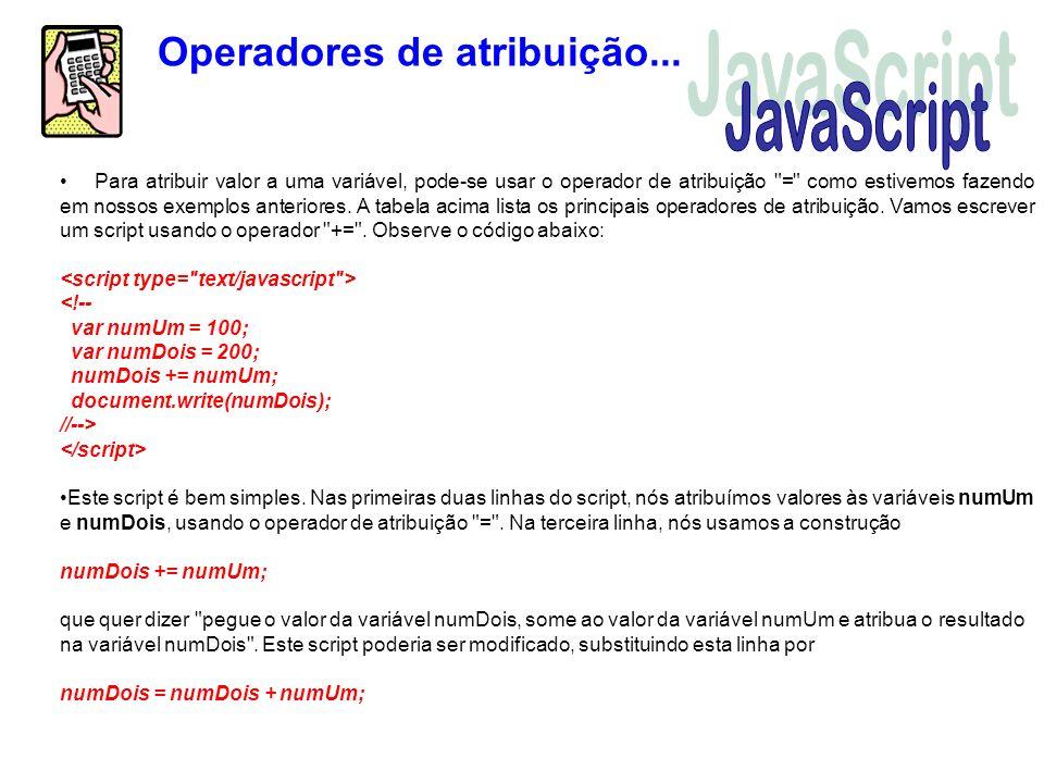 JavaScript Operadores de atribuição...