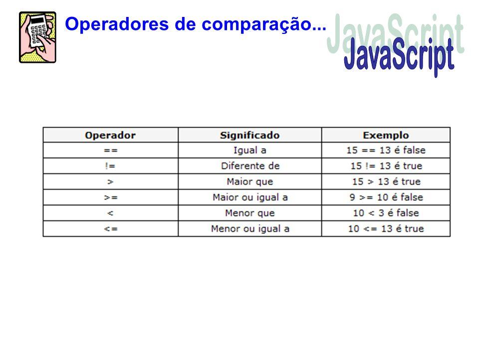 Operadores de comparação...